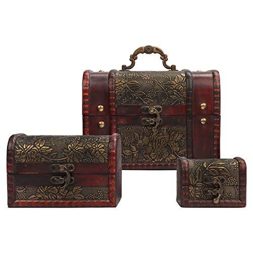 Kurtzy Joyero de Madera (Set de 3) - Cajas de Madera Vintage, Cofre del Tesoro, Organizador de Cosméticos, Maquillaje, Estuche de Madera - Accesorios de Caja de Regalo - Anillo, Collar y Brazalete