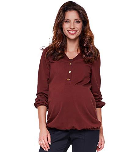 Be! Mama Umstandsshirt Winter, Stillshirt mit Gummibund unten, Modell: Flora (XL, Rotbraun)