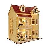 Holz-Puppenhaus zum Zusammenbasteln, Miniatur-Set, große Villa & Möbel