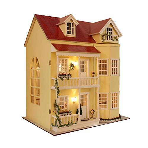 Holz-Puppenhaus zum Zusammenbasteln, DIY Holz Puppenstuben-Kit, Maßstab 1:24 kreativer Raum - große Villa & Möbel