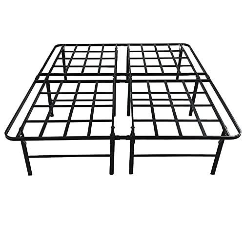 SNYKTY 16inch Queen Metal Platform Bed Frame,Strong Steel Frame, No Spring Box, Provides 2 Bracket Plates, Noise-Free, Under Bed Storage, Foldable, 3600 Lb Overweight Mattress Base