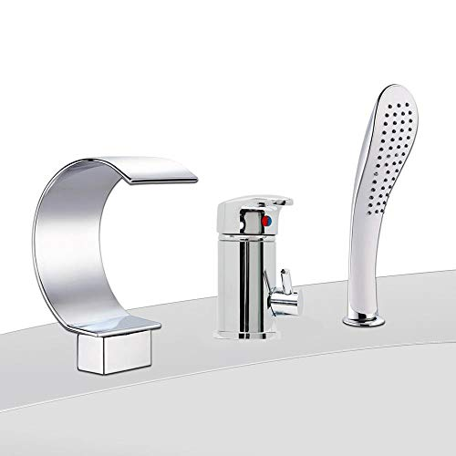 Melko Wannenrandarmatur 3loch Badewannenarmatur Chrom Wannenrandarmatur Armatur Set mit Wasserhahn Einhebelmischer, Duschkopf und Wasserfall Einlauf