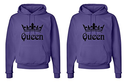 FASCIINO LGBT Matching Gay Pride Hers & Hers Lesbian Couple Hooded Sweatshirt Set - Queen and Queen Crowns (Queen Shirt #1: XLarge/Queen Shirt #2: XLarge Orange)