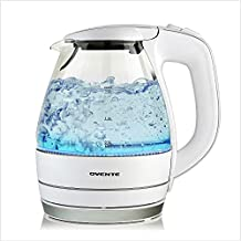 Ovente Portable Electric Glass Kettle 1.5 Liter with Blue LED Light and Stainless Steel Base, Fast Heating Countertop Tea Maker Hot Water Boiler with Auto Shut-Off & Boil Dry Protection, White KG83W