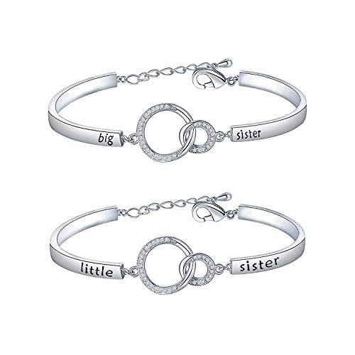BNQL Sorority Big Sister Little Sister Bracelets Set Sisters Gift CZ Interlocking Circles Jewelry (Big Little Sister Bracelet Set S)