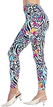 Ndoobiy Women's Printed Leggings Full-Length Regular Size Workout Legging Pants Soft Capri L1 Zebra OS
