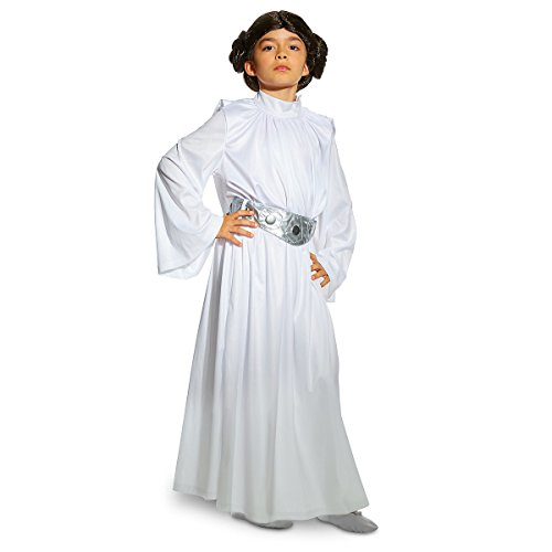 Disney Store Star Wars Deluxe Princess Leia Costume White Bun Wig - Girls (7/8)