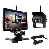 Sistema di telecamere per retromarcia senza fili, kit di telecamera posteriore pollici HD colore monitor auto con notturna telecamera wireless adatta per camion, furgoni, fuoristrada (12 – 24 Volt)