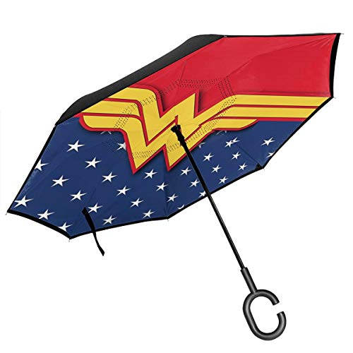 Wonder Woman Car Reverse Umbrella, Windproof And Rainproof Double Folding Inverted Umbrella, With C-Shaped Handle Uv Protection Inverted Folding Umbrellas
