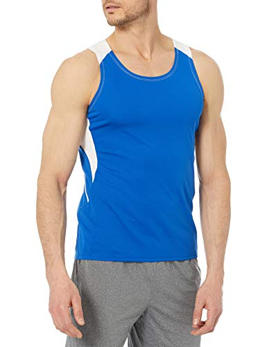 Alleson Athletic Men's Adult Loose Fit Track Tank, Royal/White, Large