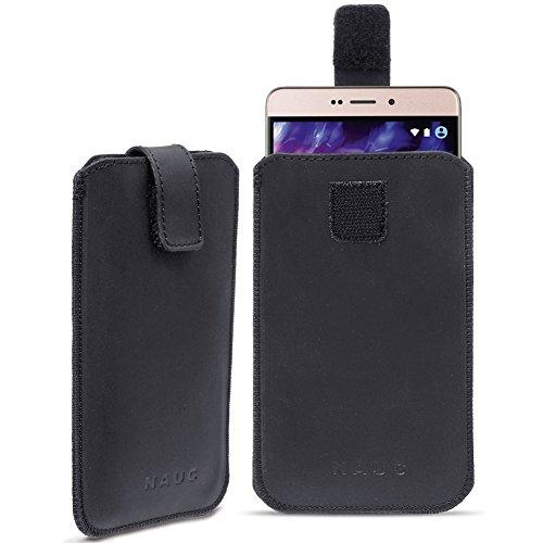 Leder Tasche für Medion Life Smartphone Handy Hülle Cover Pull Tab Lederhülle , Farbe:Schwarz;Smartphone:Medion Life E5006