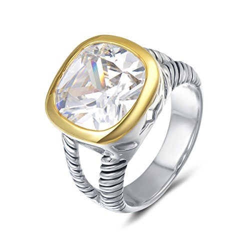 UNY Jewellery Fashion Designer Brand Inspired Twisted Cable Wire Vintage Love Antique Ring with Clear Zirconia for Women Elegant Valentine Gift (White, 7)