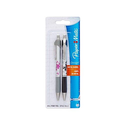 Paper Mate Design Retractable Ball Point Pens, Medium, Black Ink, Pack of 12