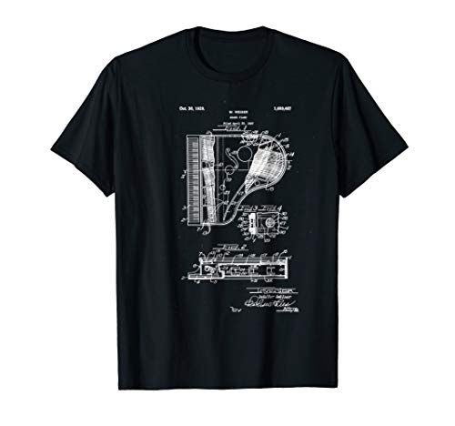 Grand Piano Patent Print 1928-Vintage Patent Print T Shirt