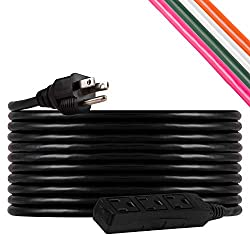 top 10 waterproof extension cord UltraPro, black, 25ft GE extension cable, 3 sockets, indoor / outdoor use, grounded, double insulated cable, …