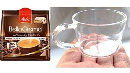 Melitta BellaCrema Kaffeepads vollmundig 16 Stk 1er Pack, + Design Glastasse, Kaffeetasse, Kaffee, Tasse, Glas, 200ml, 4er Pack im Geschenk Karton