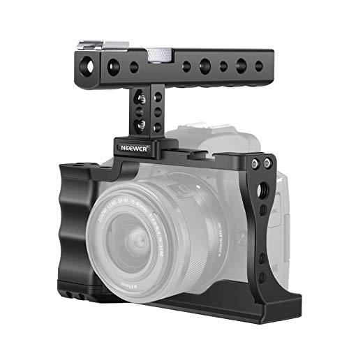 Neewer Jaula Cámara Video Rig Compatible con Cámara Sin Espejo Canon EOS M50 / M5 con Agarre Superior y Soportes de Zapata Fría Diseño de Aluminio de Aviación para Vlog Youtube