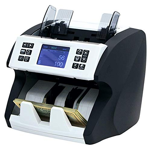 Demotio MA-180S Bank Grade Mixed Denomination and Multi-Currency (USD, EUR, CNY and GBP) Bill Money Counter with Full Detection and Receipt Printing...