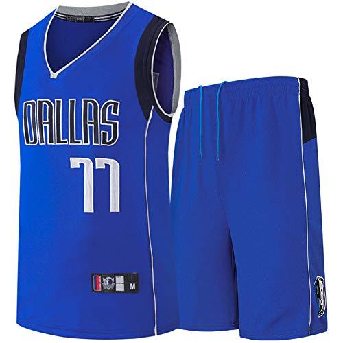 SCGNN Boy niños de Baloncesto Dallas Mavericks # 77 Ropa de Deporte Conjunto, Baloncesto Rendimiento sin Mangas y Pantalones Cortos Set,Azul,L