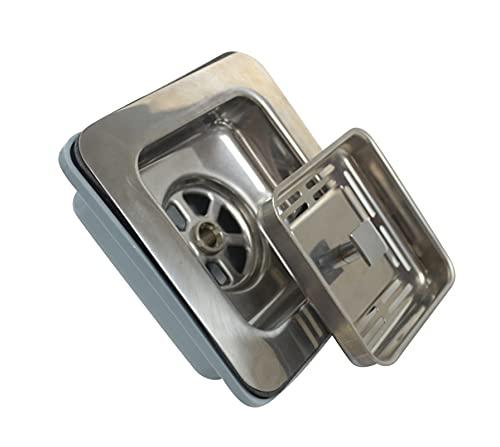XUNLAN Durable Deluxe 304 Deodorización de Acero Inoxidable Desodorización de la Cocina Fregadero de un Solo colador Set de desagüe Sistema de Fregadero Cuadrado Wearable