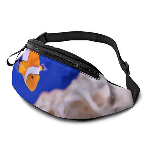 JOCHUAN Taillenpackung Gürteltasche Anemone Animal Aquarium Clownfisch Marine Ocean Wandern Taillenpackung mit Kopfhöreranschluss und verstellbaren Trägern Taillen-Gürteltasche für Reisesportwandern