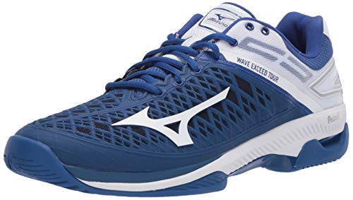 Mizuno Men's Wave Exceed Tour 4 All Court Tennis Shoe, True Blue-White, 11.5 D