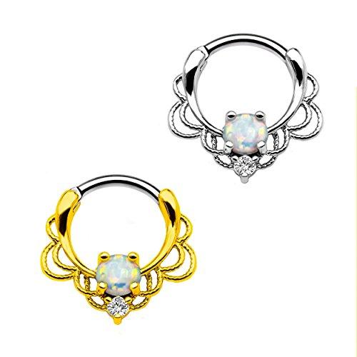 Segment ring Karisma Titan G23SETTO Clicker naso anello Piercing da naso–1,2x 8mm con zirconia e colore bianco opale TSC-H016, titanio, colore: argento, cod. TSC-H016
