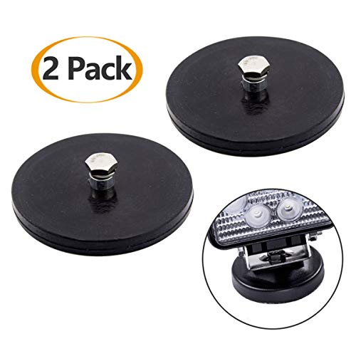 WF 2 Pcs Magnetic Light Bar Mount, Magnetic Work Light Base, Powerful Magnet Mounting Brackets Holder with Rubber Pad for Off-Road Driving Lamp, Curved LED Light Bar, Emergency Light, Roof Flashlight