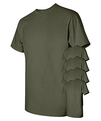 Gildan Men's Classic Heavy Cotton T-Shirt, Military Green, M (Pack of 5)