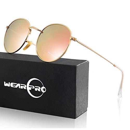 wearPro Retro Sonnenbrille (rund, verspiegelt, polarisiert)