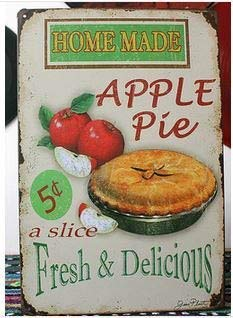 Vintage Tin Plate Signs Home Made Apple Pie Wall Decor House Cafe Shop Painting by Tin Metal
