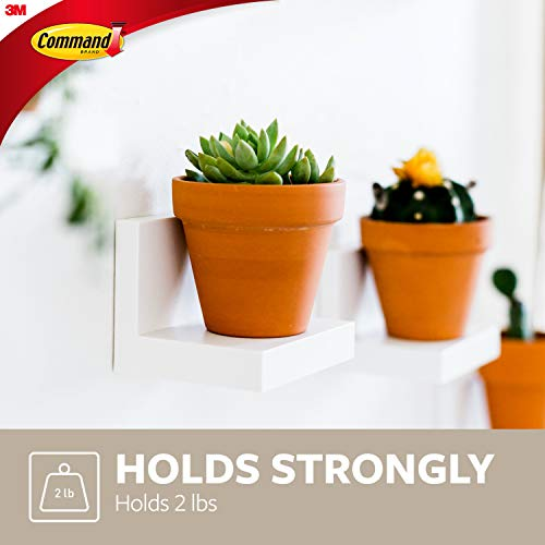 "Command Quartz 4"" Floating Wall Ledges, 2 pack, Decorate Damage-Free, Indoor Use, Holds 2 lbs, 2 ledges, 8 strips (HOM23Q-2ES)"