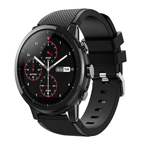 DIPOLA Correa de Correa de Reloj Deportivo Suave de Silicagel para Reloj Inteligente Amazfit Stratos 2S—Negro