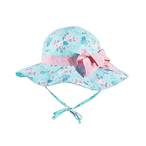 LACOFIA Cappello da Sole per Bambina Cappellino Estivo da 50 + UPF Protezione Solare neonata Berretto da Spiaggia a Tesa Larga con Cinturino sottogola Regolabile Bowknot Blu 6-12 Mesi
