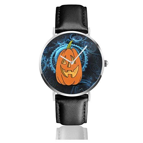 Jack O 'Laterne Kürbis Halloween Lederarmband Uhr Lässig Edelstahl Quarz Handgelenk Schwarz Lederband und dünnes Zifferblatt