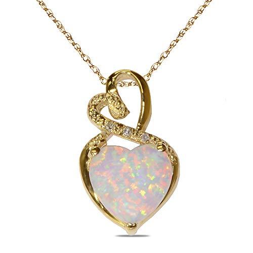 人工宝石 誕生石 ハートとダイヤモンド アクセント ネックレス ペンダント チャーム 10K ホワイトゴールド 10K イエローゴールドメッキ 925 スターリングシルバー 18インチチェーン (誕生石をお選びください)