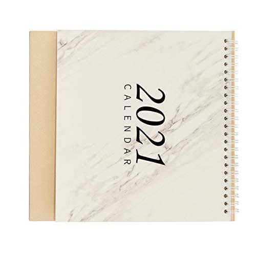 Supvox 2021 Calendario de Mármol Escritorio Bobina Calendario de Escritorio de Pie Diario Planificador Calendario