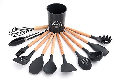 M&E Utensilios de Cocina en Silicona y Madera, Juego de Utensilios de Cocina de Silicona con Mango de Madera, Set de Utensilios de Cocina con 11 Piezas (Negro)
