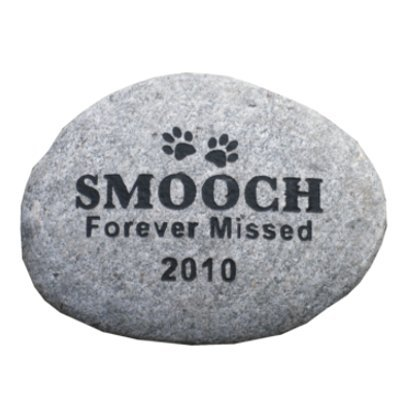 Pet Memorial Grave Marker Headstone 10' River Rock one line of Endearment Text