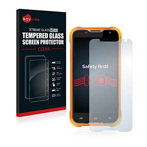 savvies Protector Cristal Templado Compatible con Blackview BV5000 Protector Pantalla Vidrio, Protección 9H, Pelicula Anti-Huellas