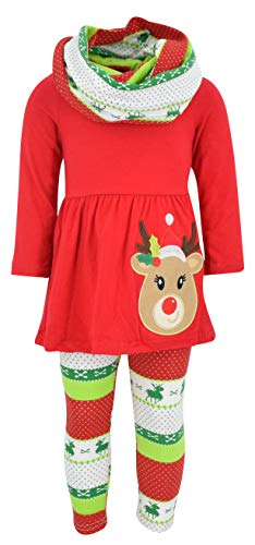 Unique Baby Girls 3 Piece Christmas Red Rudolph Legging Set (4t/M, Red)