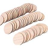 50個 木製スライス 天然木 丸型 木片 DIYの手芸 素材 のためのディスクをスライス