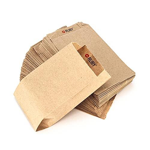 RUBY - 100 Kraft bolsa de papel marrón, bolsas de regalo/bolsas de fiesta/calendario de adviento/navidad/bodas/fiestas de...