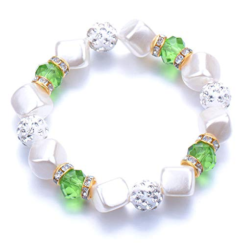Pulseras Brazalete Joyería Mujer Bead Pearl Bracelets Bangles Pulsera De Cuentas Crystal Beads Jewelry Gift-Black_Gun_Plated