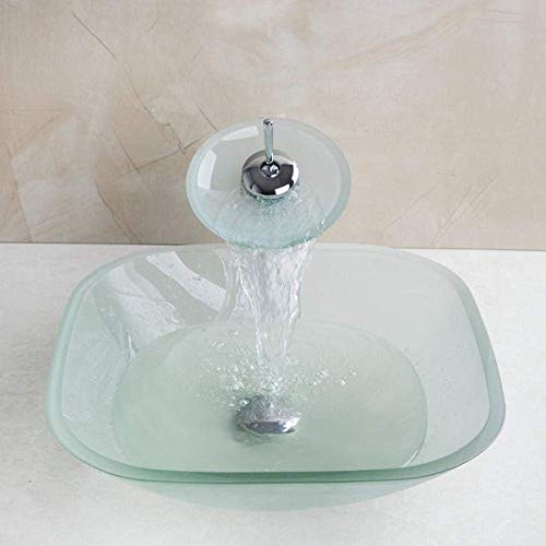 ZLXLX wastafel wastafel wastafel mat vierkante glazen kom badkamer wastafel decor kunst wastafel wastafel met waterval kraan gehard glas badkamer wastafel set