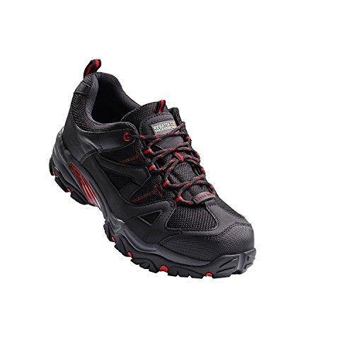 Regatta Hardwear Riverbeck S1P - Entrenador de seguridad, Asimétrico, Hombre, color negro/ rojo, tamaño 28 ES