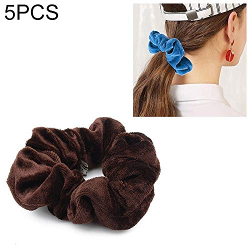 Belleza y salud 5 Unids Velvet Color Sólido Bandas Elásticos For el Cabello Titular de cola de Caballo Scrunchies Tie Hair Rubber Band Headband (Deep Blue) Diademas y Headhoops (Color : Dark Brown)