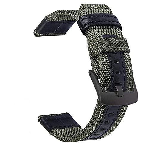 Correas De Reloj De Nylon Reloj de Reloj de Reloj de 20 mm 22mm 46mm 42mm de Cuero de Nylon Correa de Reloj Correa Reloj (Band Color : Green)