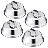 Leonyo 9' Professional Cheese Melting Dome Lid Set of 4, Durable Stainless Steel Basting Steaming...