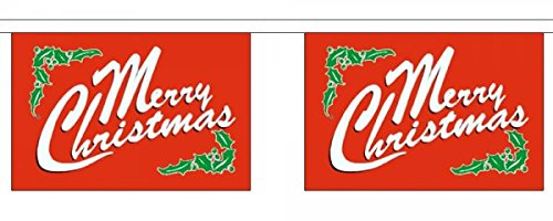 Merry Christmas Rouge Holly horizontal Polyester fanions 9 m (30 ') avec 30 fanions